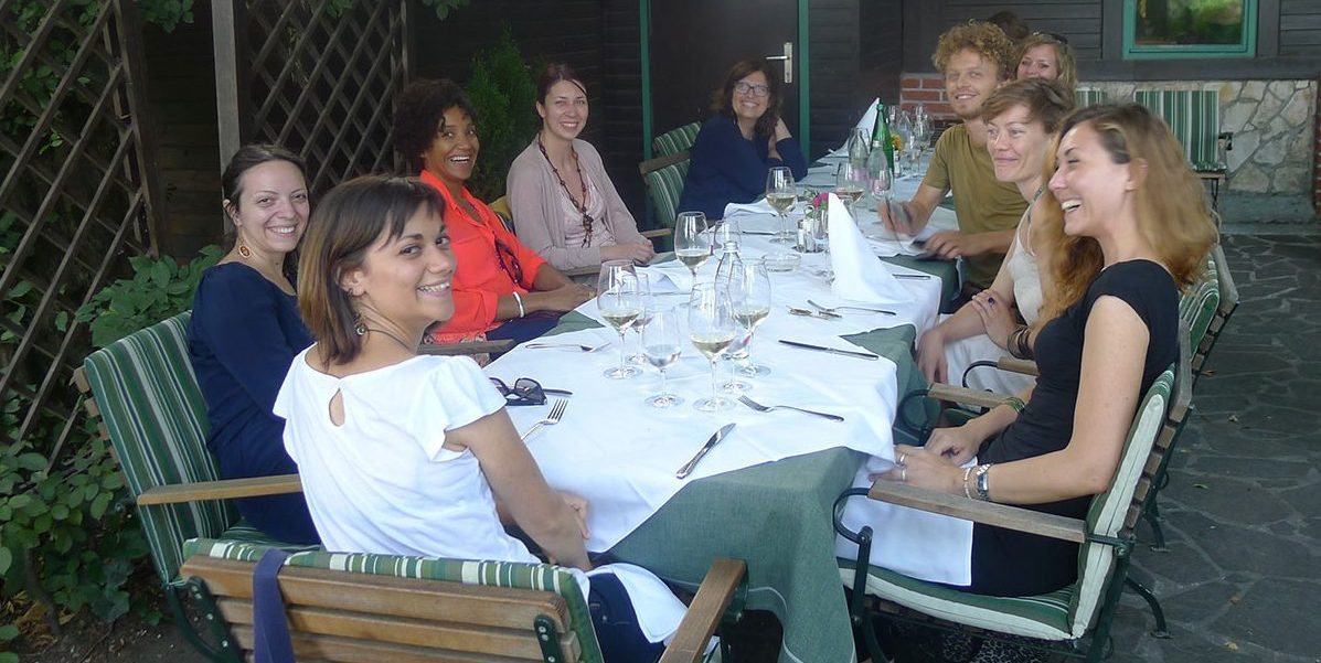 Dinner with On Curatorial Space Laboratory participants and friends with curator Nataša Petrešin-Bachelez and artist Maria Morganti
