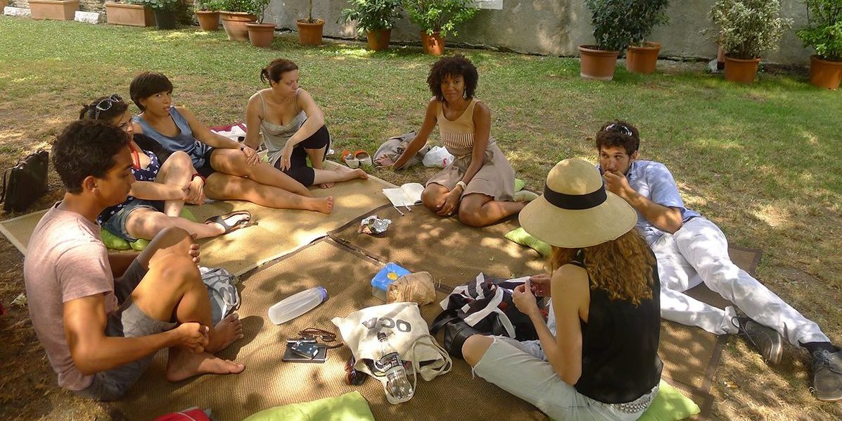Meeting with Microclima at Serra dei Giardini, June, 29, 2012. From left to right, Andrew Welch (Microclima invited guest), Elisa Fantin, Monica Bosaro, Valeria Iacovelli and Claire Tancons (Art on Parade? IUAV) and Paolo Rosso and Michela Intra (Microclima). Photo Valeria Romagnini
