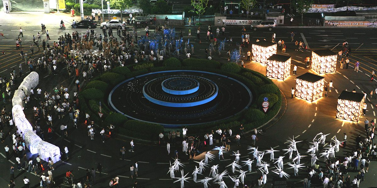 SPRING, aerial view around the May 18 Democratic Square. Photo Cheolhong Mo, Courtesy Gwangju Biennale Foundation
