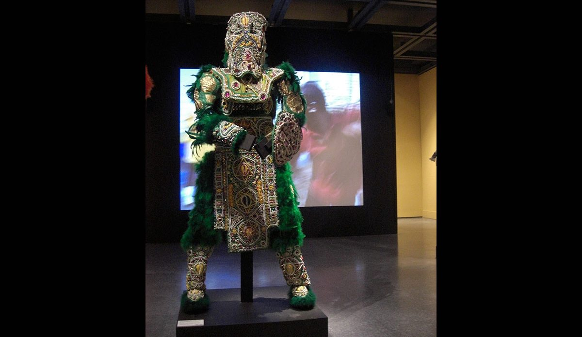 Victor Harris & Fi-Yi-Yi, Big Chief Suit and Shield (Green), 2004-2006. Collection Victor Harris, Courtesy Victor Harris and the Backstreet Cultural Museum. Photo Claire Tancons