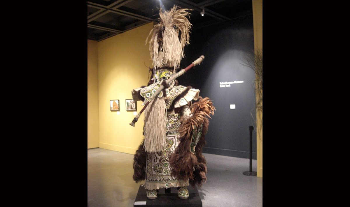 Victor Harris & Fi-Yi-Yi, Big Chief Suit and Shield (Brown), 2008. Collection Victor Harris, Courtesy Victor Harris and the Backstreet Cultural Museum. Photo Claire Tancons