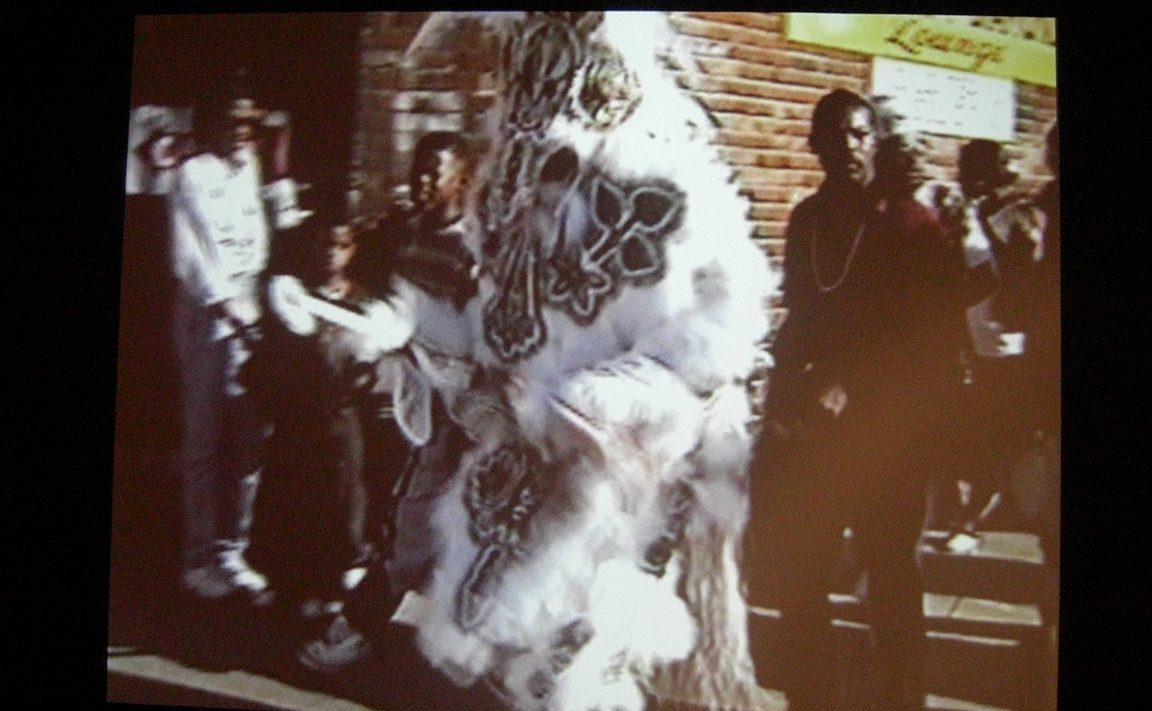 Video footage by Sylvester Francis, compiled by Claire Tancons, edited by David Aman, produced by Prospect.1 New Orleans. Courtesy Sylvester Francis, the Backstreet Cultural Museum and U.S. Biennial Inc.