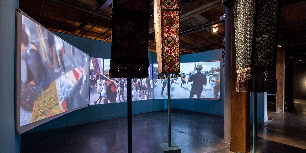 Ebony G. Patterson, Invisible Presence: Bling Memories (2014) in EN MAS' at CAC, 2015. Photo Sarrah Danziger