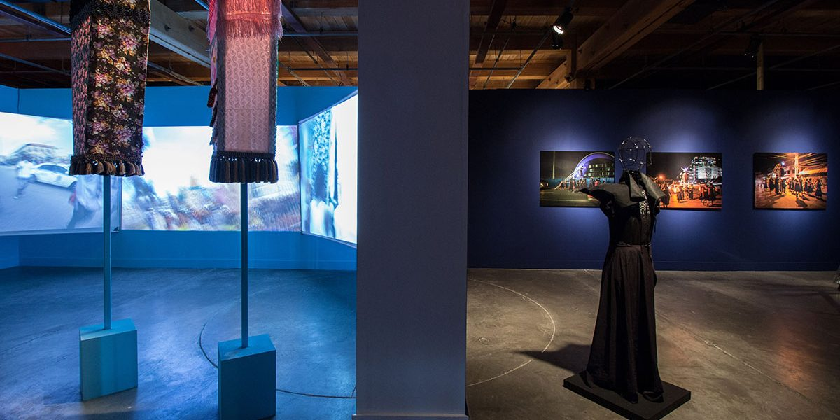 Ebony G. Patterson, Invisible Presence: Bling Memories (2014) and Marlon Griffith, POSITIONS + POWER (2014) in EN MAS' at CAC, 2015. Photo Sarrah Danziger