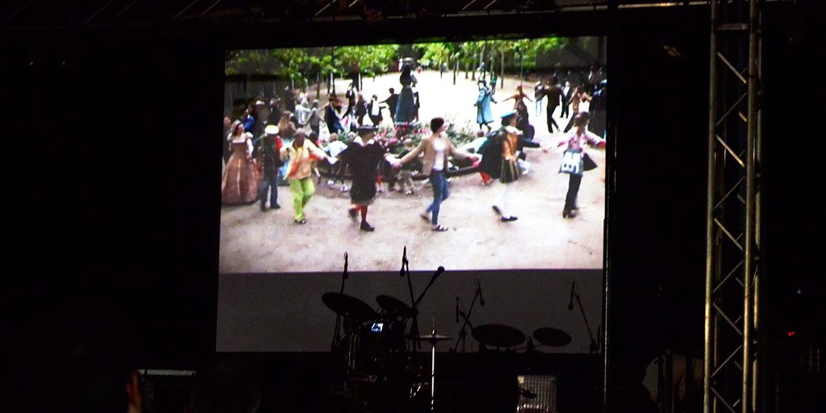 Chiara Trivelli, Farandola, video projection, Campo San Pietro de Castello, main screen of the Sagra. Photo Nicolas Bustreo