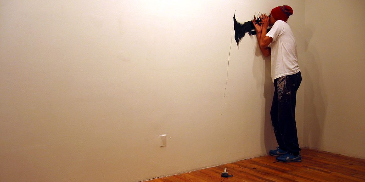 Robin Rhode, The Score, 15-minute performance, Artists Space, Project Room 01, May 19, 2004. Photo Tobin Yelland.