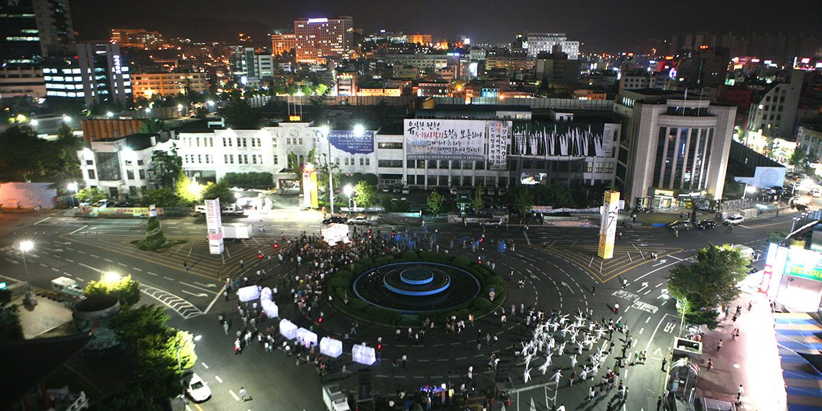 SPRING, aerial view of the May 18 Democratic Square. Photo Cheolhong Mo, Courtesy Gwangju Biennale Foundation