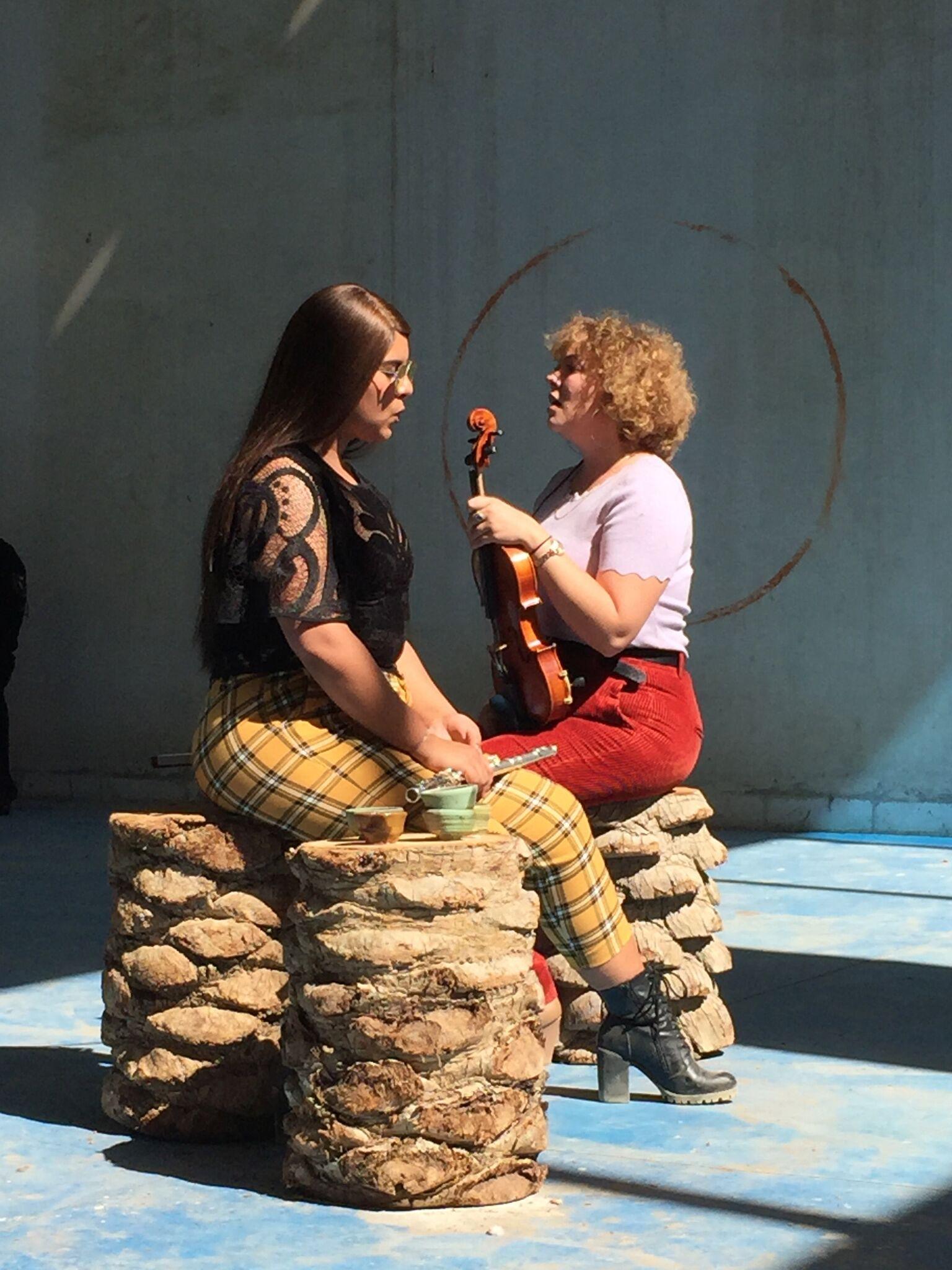 Isabel Lewis, Matthew Lutz-Kinoy & HACKLANDER / HATAM, Untitled (inwardness, juice, natures) performance, March 8, 2019, Kalba Ice Factory. Photo Courtesy SAF.