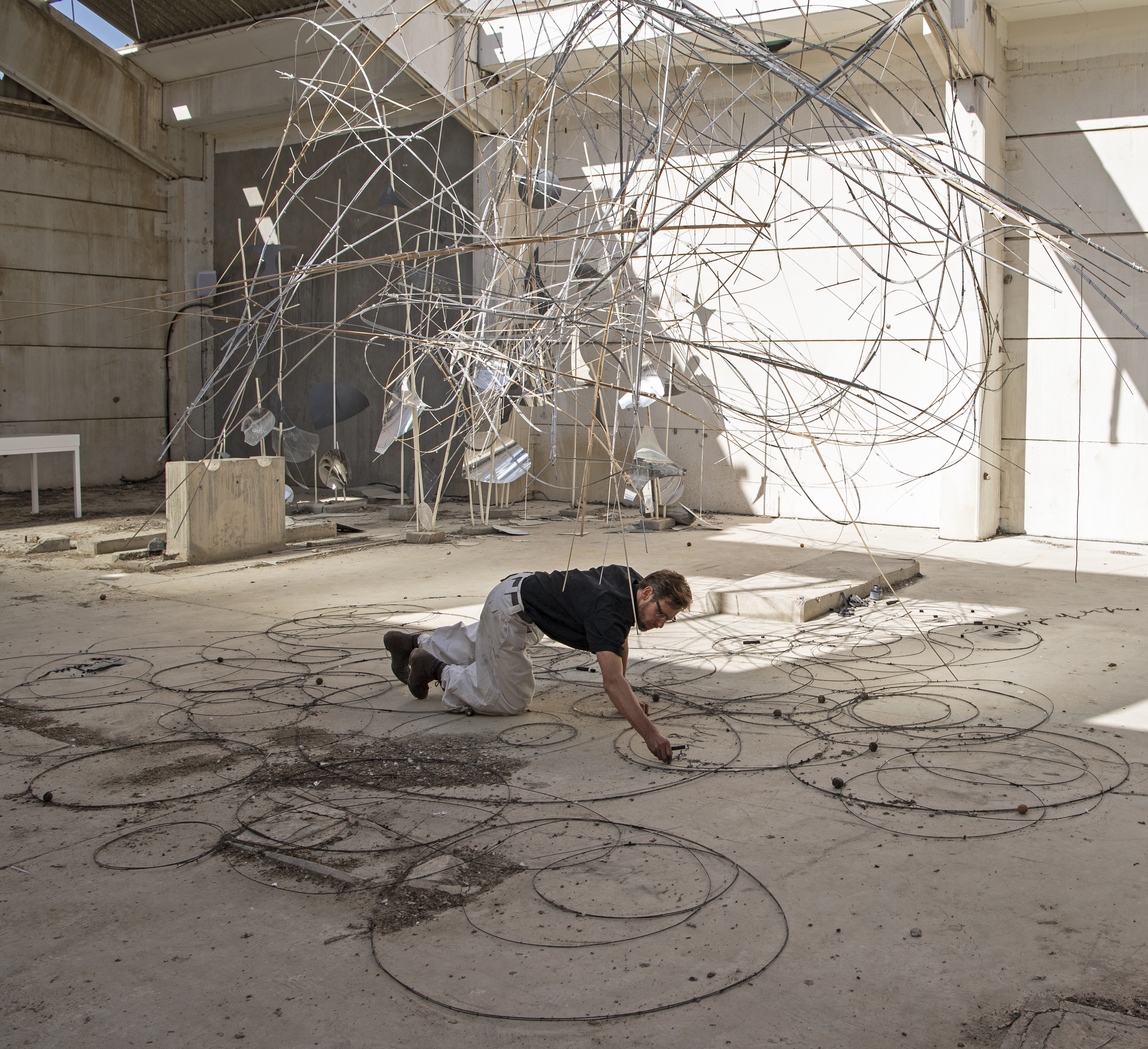 Nikolaus Gansterer,<br>  Sympoiesis Observatory performance, March 8, 2019, Kalba Ice Factory. Photo Courtesy SAF