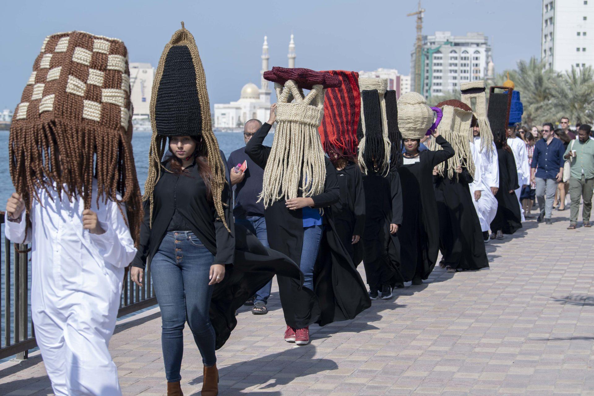 Meschac Gaba, Perruques Architecture Émirats Arabes Unis performance, March 9, 2019. Film Still Courtesy SAF