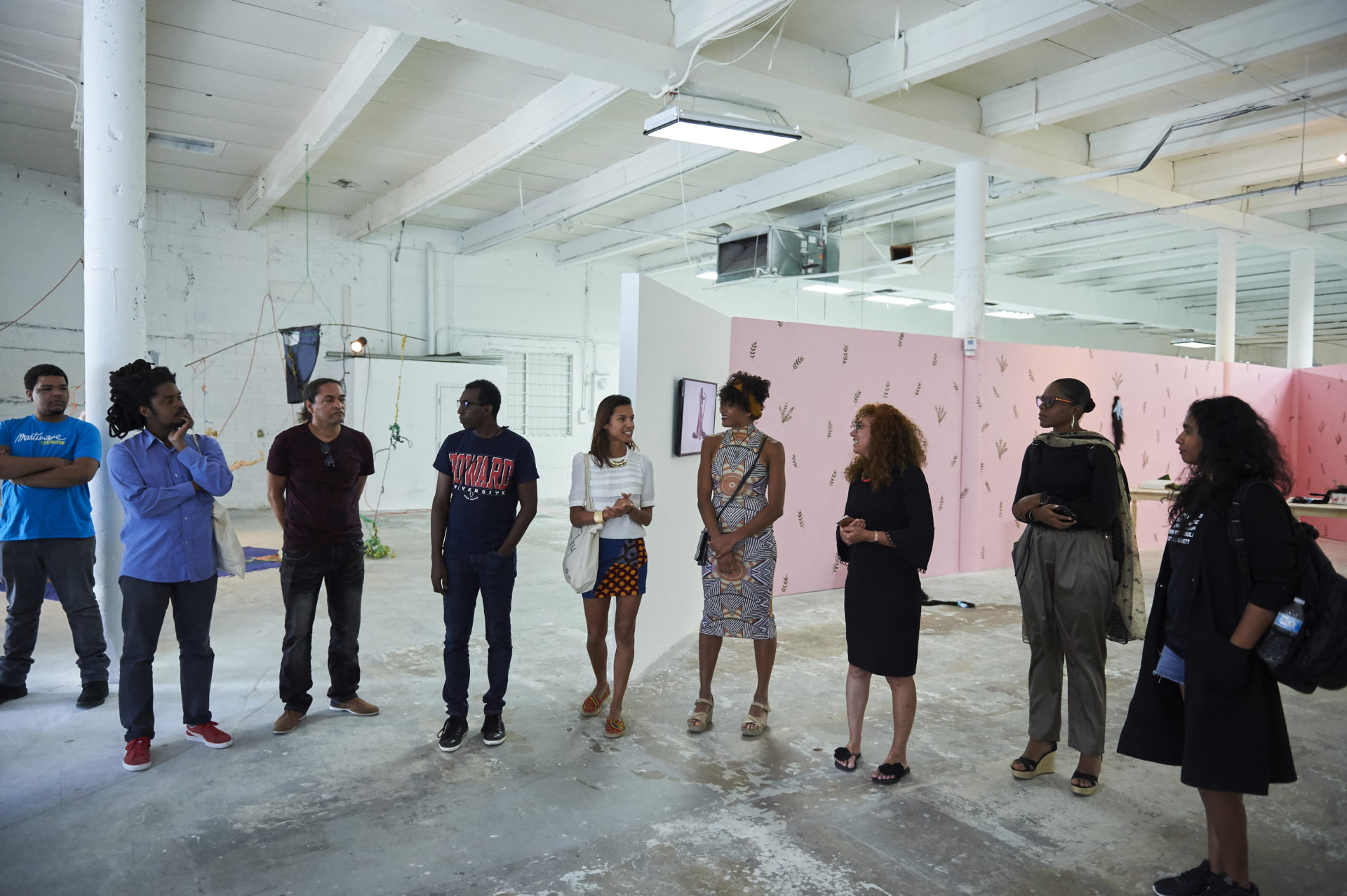 (second from left: Julien Creuzet, Robert Charlotte, Mirtho Linguet, Vanessa Selk, Claire Tancons, Johanna Auguiac, Shirley Ruffin, Kelly Sinappah Mary)